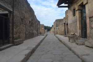 Looking down a street in Pompeii